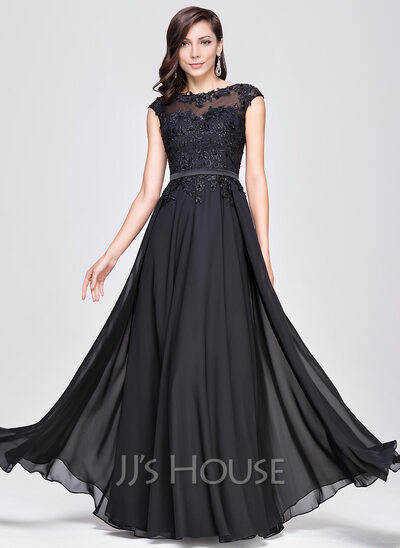 A Line Princess Scoop Neck Floor Length Chiffon Evening Dress With Beading Appliques Lace
