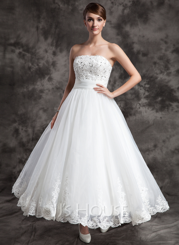 A line princess strapless ankle length organza satin for Ankle length wedding dress