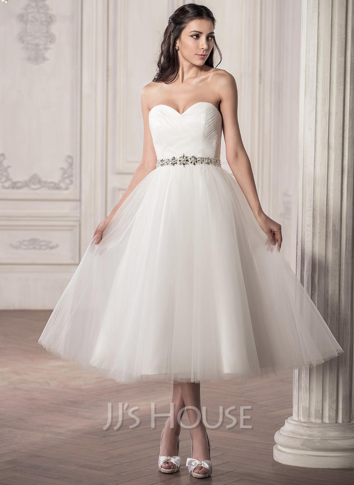A Line Princess Sweetheart Tea Length Tulle Wedding Dress With Ruffle Beading