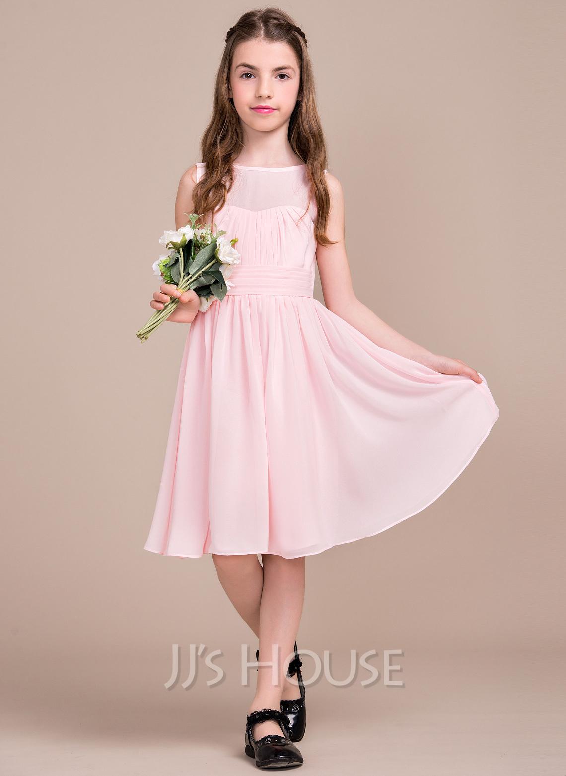 A line princess scoop neck knee length chiffon junior for Junior dresses for wedding