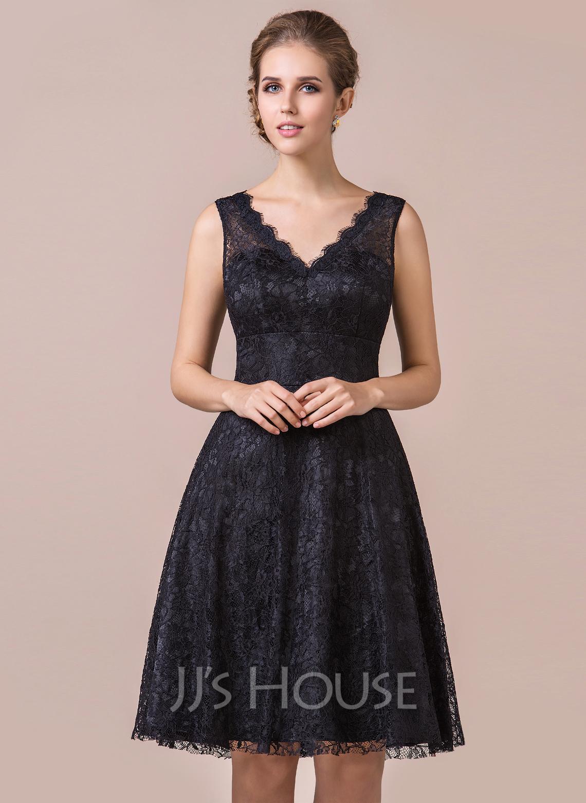 A Line Princess V neck Knee Length Lace Bridesmaid Dress