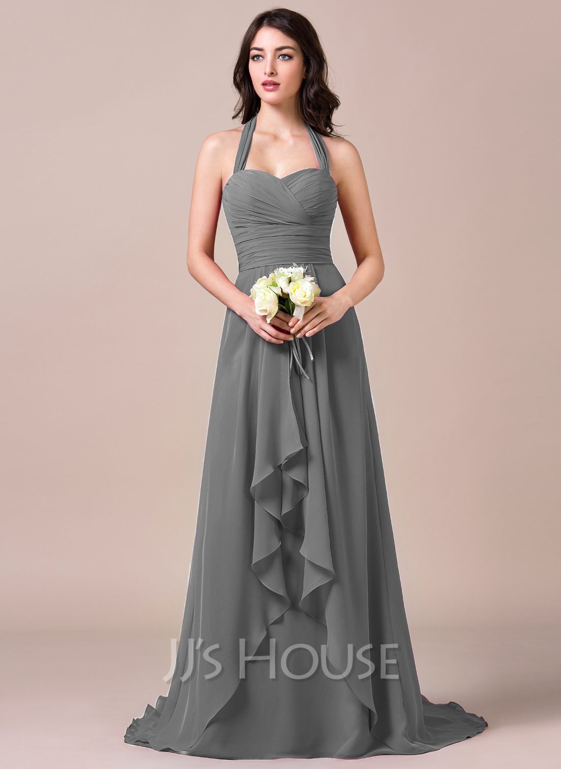 A line princess halter sweep train chiffon bridesmaid for Aline halter wedding dresses