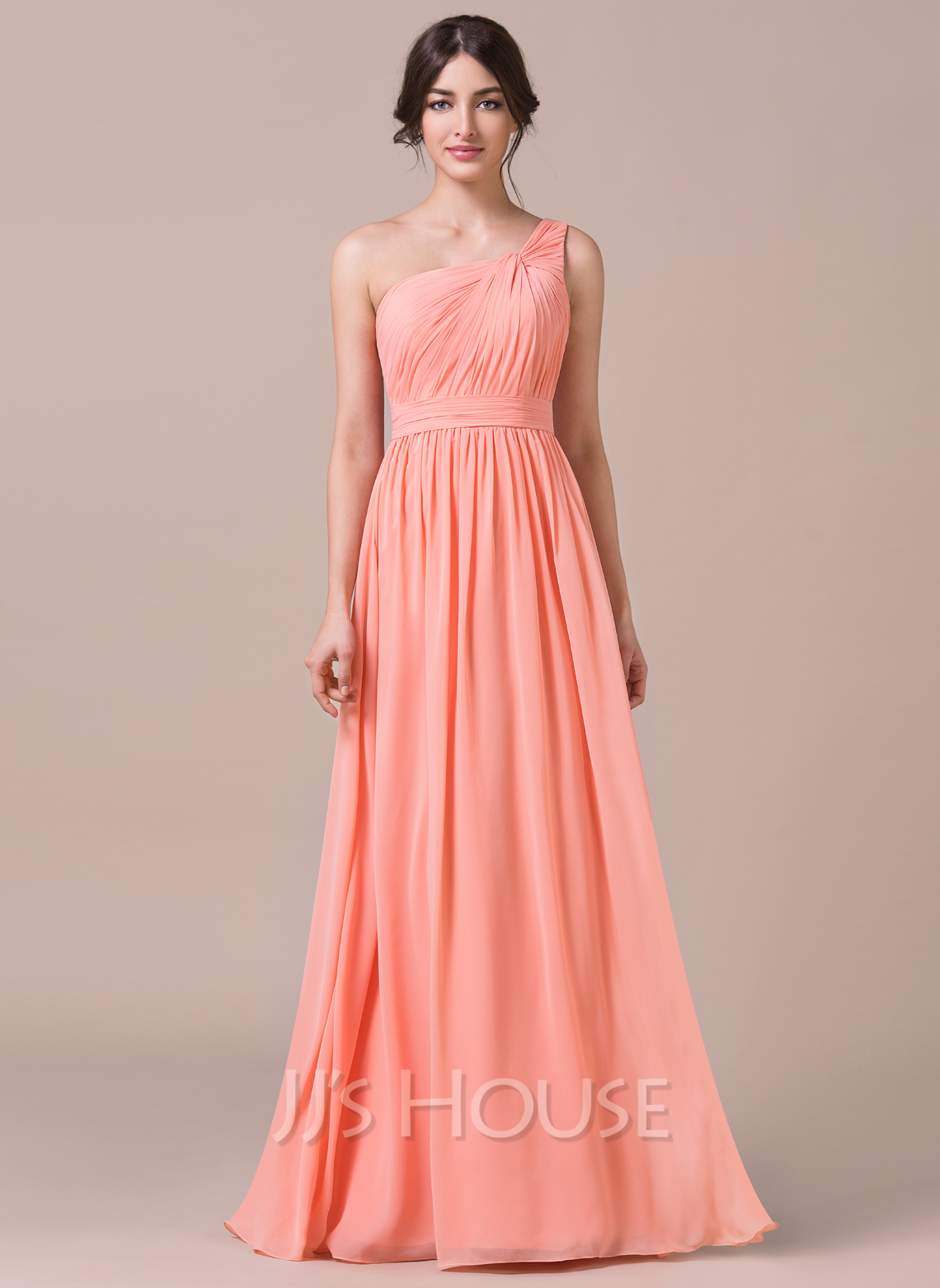 A line princess one shoulder floor length chiffon for Jj house wedding dress