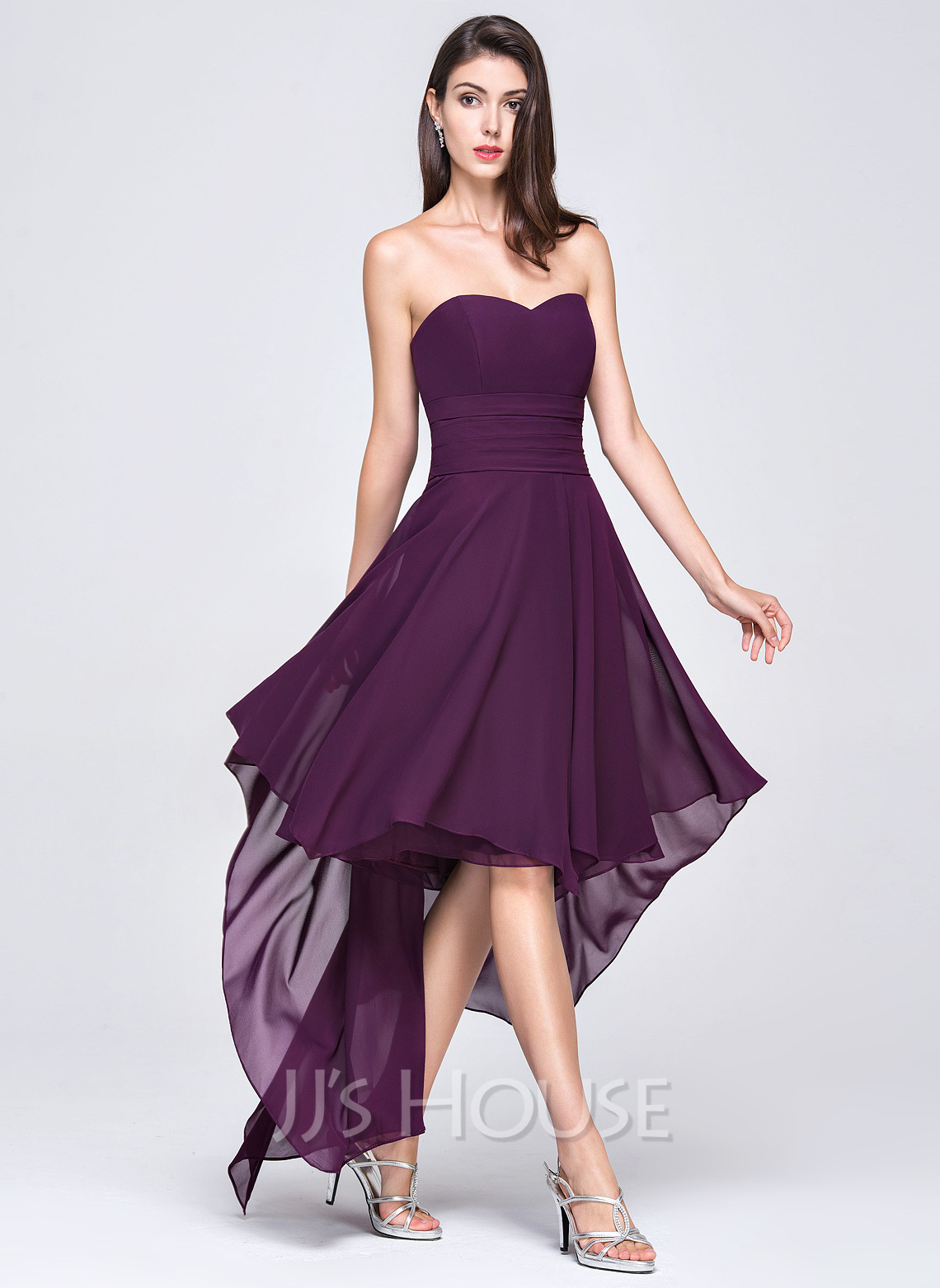 a line princess sweetheart asymmetrical chiffon evening