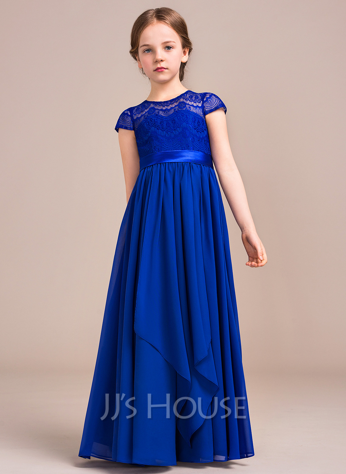 A Line Princess Scoop Neck Floor Length Chiffon Lace