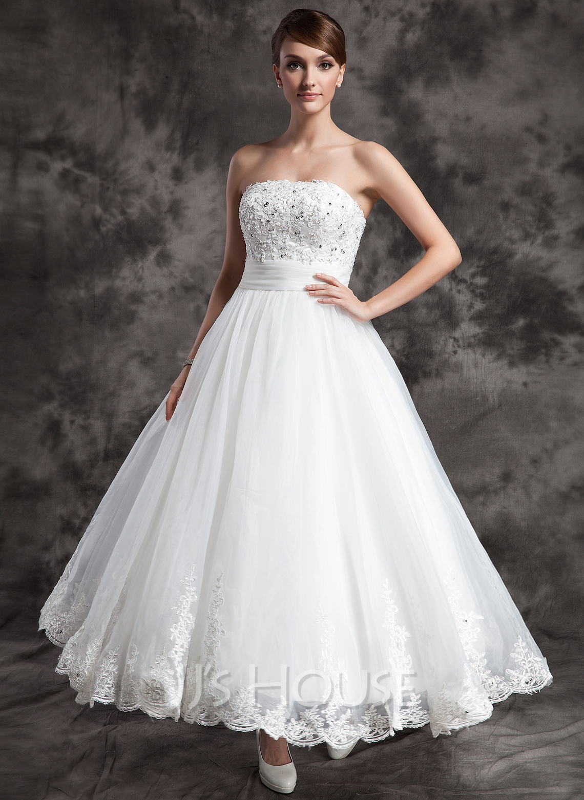 A line princess strapless ankle length satin organza for Lace ankle length wedding dress
