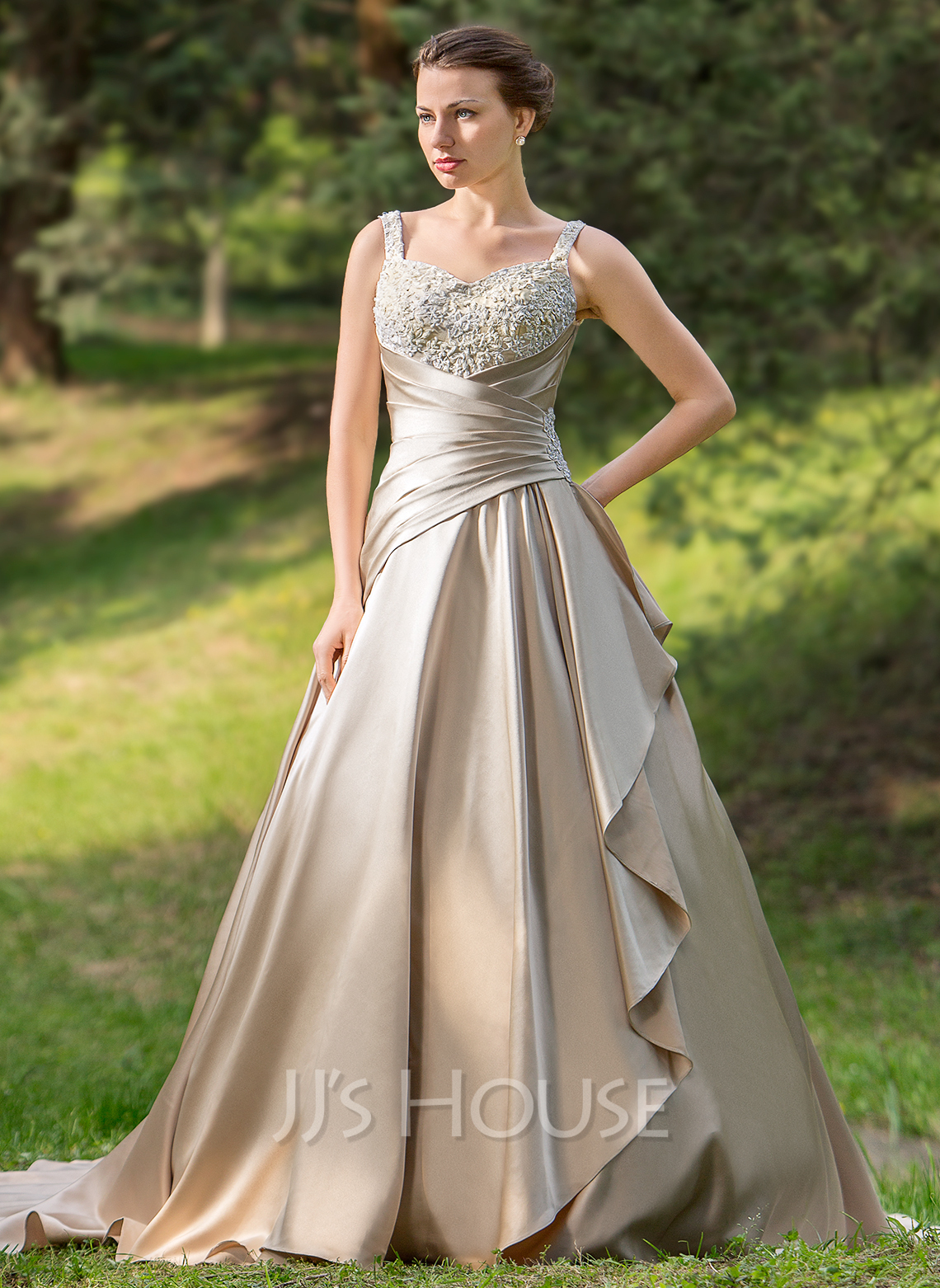 Ball gown sweetheart court train satin wedding dress with for Wedding dresses with ruffles