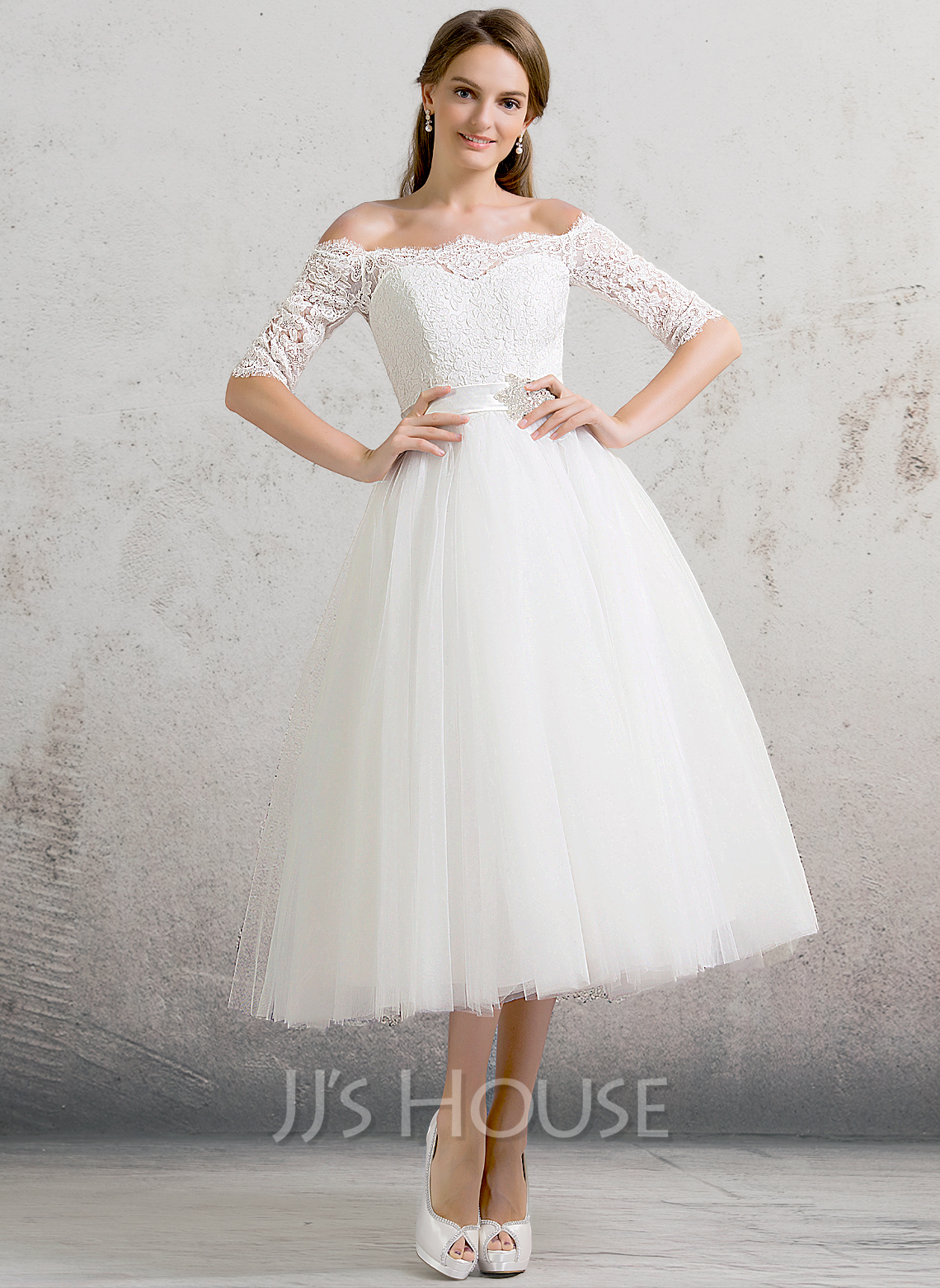 Ball Gown f the Shoulder Tea Length Tulle Wedding Dress