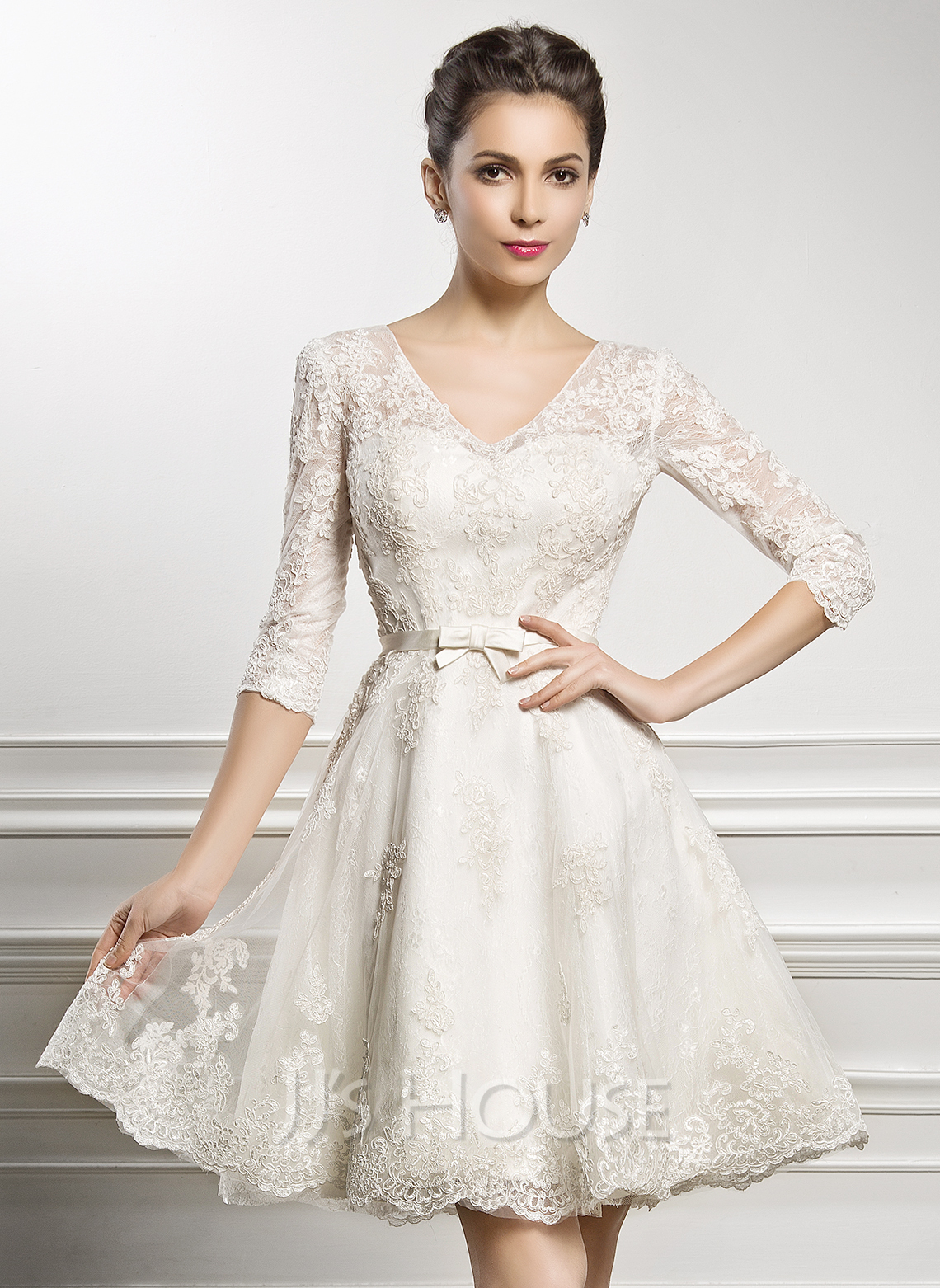 line princess v neck knee length lace wedding dress with bow s