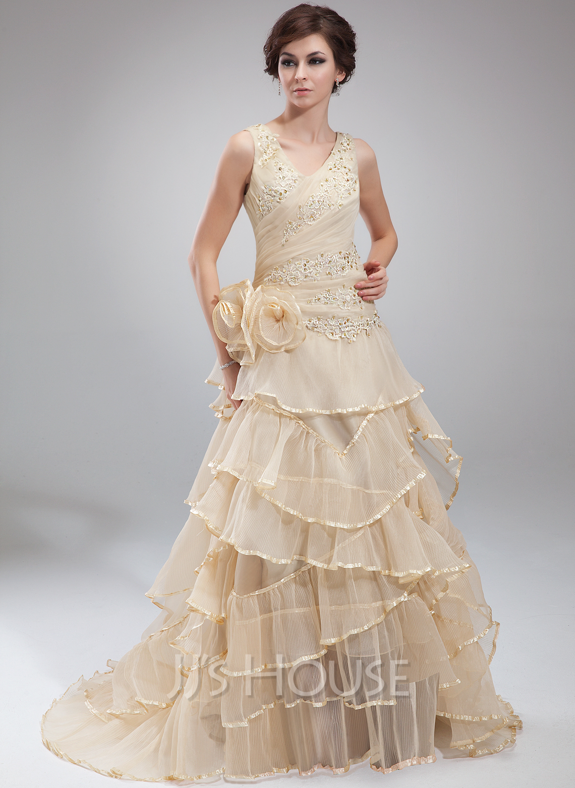 Dress with beading appliques lace flower s cascading ruffles pleated