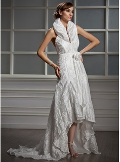 A-Line/Princess Halter Asymmetrical Taffeta Wedding Dress With Ruffle Flower(s)