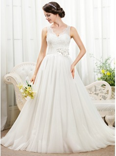 Ball-Gown V-neck Chapel Train Satin Tulle Lace Wedding Dress With Beading Flower(s) Sequins