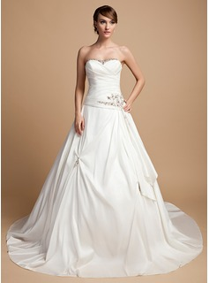 Ball-Gown Sweetheart Cathedral Train Taffeta Wedding Dress With Ruffle Lace Beading