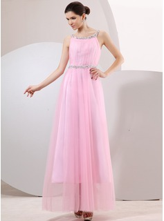 A-Line/Princess Scoop Neck Ankle-Length Tulle Prom Dress With Ruffle Lace Beading (018014065)