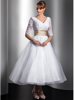 A-Line/Princess V-neck Tea-Length Tulle Charmeuse Wedding Dress With Lace Sash Beadwork