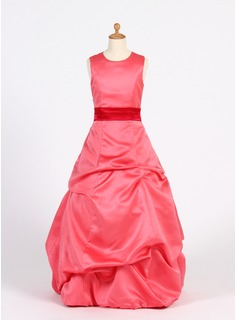 A-Line/Princess Scoop Neck Floor-Length Satin Junior Bridesmaid Dress With Ruffle Sash (009016223)