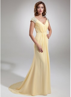 A-Line/Princess V-neck Sweep Train Chiffon Evening Dress With Ruffle Beading