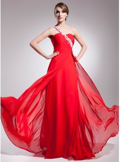 A-Line/Princess One-Shoulder Sweep/Brush Train Chiffon Evening Dress With Ruffle Beading Appliques Sequins