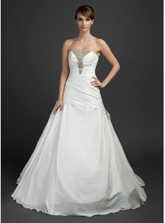 Ball-Gown Strapless Chapel Train Taffeta Wedding Dress With Ruffle Beading