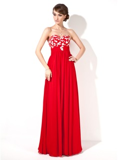 Empire Sweetheart Floor-Length Chiffon Prom Dress With Lace