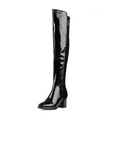 Real Leather Chunky Heel Knee High Boots shoes