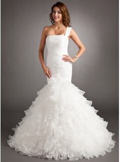 Trumpet/Mermaid One-Shoulder Court Train Organza Wedding Dress With Cascading Ruffles