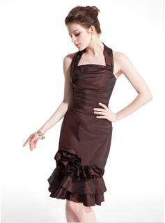 Sheath Halter Knee-Length Taffeta Cocktail Dress With Ruffle Flower(s) (016021235)