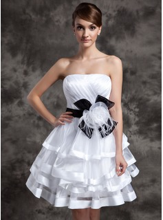 A-Line/Princess Strapless Knee-Length Organza Charmeuse Cocktail Dress With Ruffle Sash Feather Flower(s) (016014994)