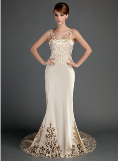 Mermaid Chapel Train Charmeuse Wedding Dress With Lace