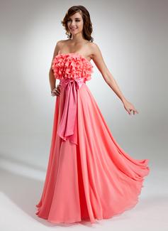 A-Line/Princess Strapless Floor-Length Chiffon Charmeuse Prom Dress With Sash Bow(s) Cascading Ruffles