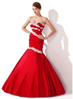 Mermaid Sweetheart Floor-Length Taffeta Prom Dress With Ruffle Lace Beading Sequins