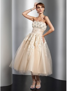 A-Line/Princess Strapless Tea-Length Satin Tulle Wedding Dress With Ruffle Lace Beadwork Flower(s)