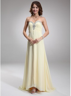 A-Line/Princess Sweetheart Sweep Train Chiffon Evening Dress With Ruffle Beading (017016879)