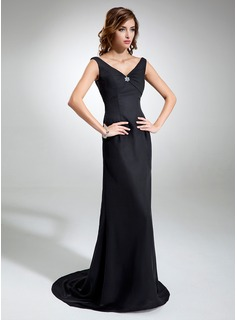 Sheath V-neck Sweep Train Chiffon Evening Dress With Ruffle Beading (017039553)