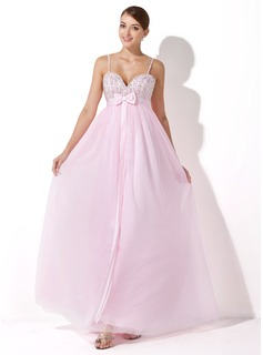 Empire Sweetheart Floor-Length Satin Tulle Evening Dress With Beading Sequins Bow(s)