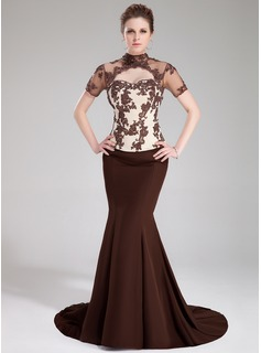 Mermaid High Neck Sweep Train Chiffon Tulle Charmeuse Evening Dress With Lace Beading Sequins