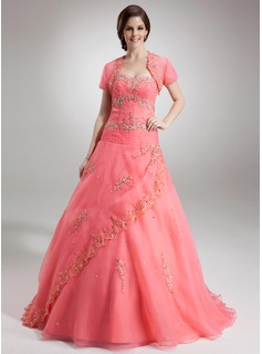 Ball-Gown Sweetheart Floor-Length Organza Quinceanera Dress With Lace Beading Sequins