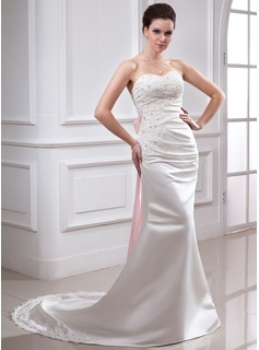 A-Line/Princess Sweetheart Chapel Train Satin Wedding Dress With Ruffle Lace Sash Beadwork