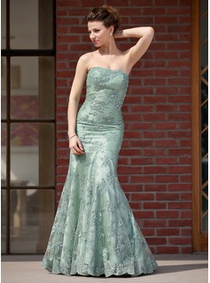 Trumpet/Mermaid Sweetheart Floor-Length Charmeuse Lace Mother of the Bride Dress With Beading Sequins