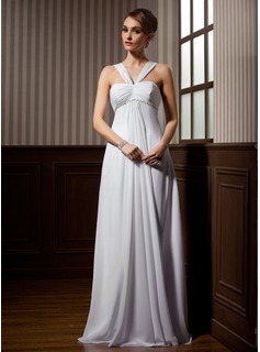 Empire V-neck Watteau Train Chiffon Wedding Dress With Ruffle Beadwork