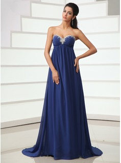 Empire Sweetheart Court Train Chiffon Evening Dress With Ruffle Beading (017022716)