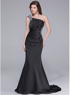 Sheath One-Shoulder Watteau Train Chiffon Prom Dress With Ruffle Beading