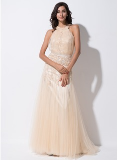 Trumpet/Mermaid Scoop Neck Sweep Train Tulle Charmeuse Evening Dress With Ruffle Lace Beading Sequins