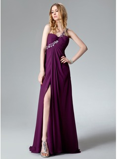 Empire One-Shoulder Sweep Train Chiffon Evening Dress With Ruffle Lace Beading Sequins Split Front