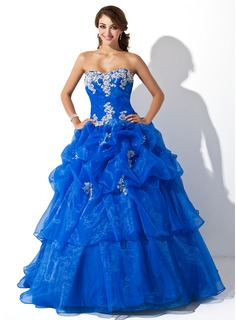 Ball-Gown Sweetheart Floor-Length Organza Quinceanera Dress With Ruffle Lace