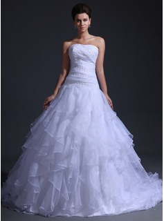 Ball-Gown Sweetheart Cathedral Train Organza Wedding Dress With Lace Cascading Ruffles
