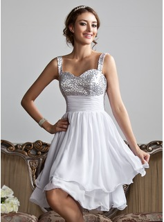Empire Sweetheart Knee-Length Chiffon Sequined Homecoming Dress With Ruffle (022010318)