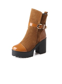 Suede Leatherette Chunky Heel Ankle Boots With Buckle shoes