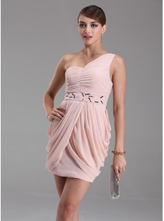 Sheath One-Shoulder Short/Mini Chiffon Cocktail Dress With Ruffle Beading (016005842)