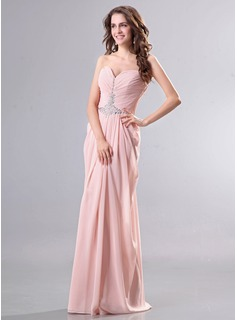 Sheath Sweetheart Floor-Length Chiffon Evening Dress With Ruffle Beading